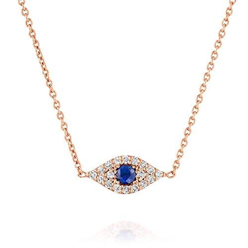 Small 14K Rose Gold Evil safety Choker Eye Diamonds Necklace Popular products Protection