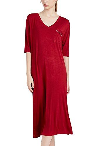 Dolamen Chemises de Nuit Femmes Longue, Femmes Ensemble de Pyjama sans Manches Floral-Print Knit Modal Coton Chemise de Nuit Longue Robe de Plage, Grande Taille XS-3XL (Large, Rouge foncé)