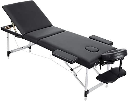Massageliege Spa Bed Massagetisch Klappbar Kosmetikliege 3 Abschnitte Aluminium Füße faltbar tragbar mit Gesichtsloch Tragetasche Rückenlehne Höhe einstellbar