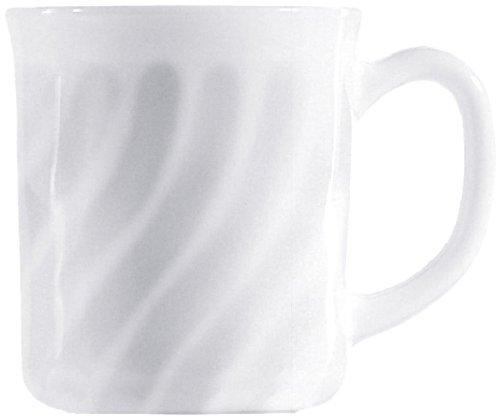 Arcoroc ARC D6880 Trianon Uni Bockbecher, Kaffeebecher, Kaffeetasse, 290ml, Opalglas, weiß, 6 Stück