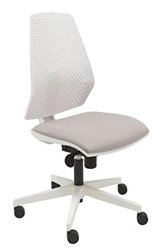 Silla giratoria oficina Hexa color 100% blanco, diseño elegante y moderno, ergonómico, sistema syncro balanceo 4 posiciones y asiento tapizado en varios colores, ruedas de parquet - (Gris)