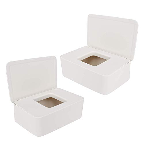 Pineocus Caja de toallitas húmedas de 2 piezas, dispensador de pañuelos faciales, organizador de servilletas de capacidad ampliada con tapa sellada rectangular
