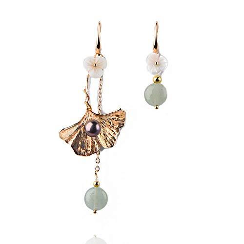 Earrings, Asymmetric Flower Gold-Plated Earrings, Hipster Flower Ear Pendant Ear Stud