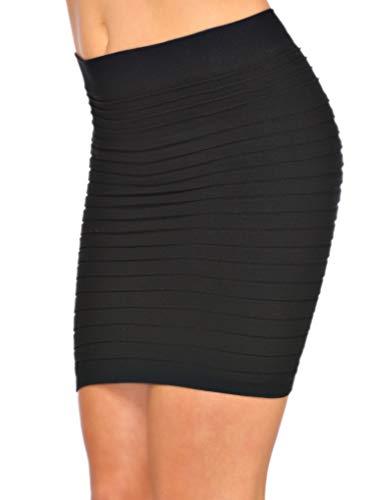 jowiha Minifalda elástica para mujer, color negro Negro Talla única