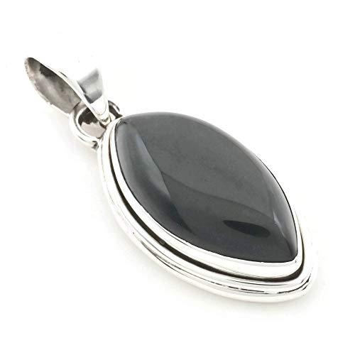 Kettenanhänger Medaillon Silber 925 Sterlingsilber Onyx schwarz Stein 14 mm36 mm (Nr: MAH 117)
