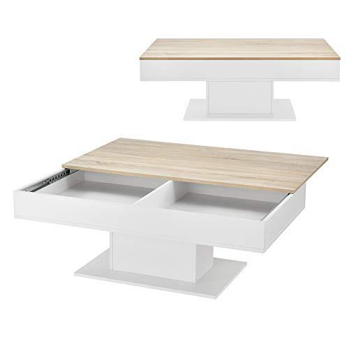 [en.casa] Couchtisch mit 2 Staufächern unter Schiebeplatte Wohnzimmertisch mit Truhefunktion Kaffeetisch 40x110x60cm Holz-Optik/Weiß