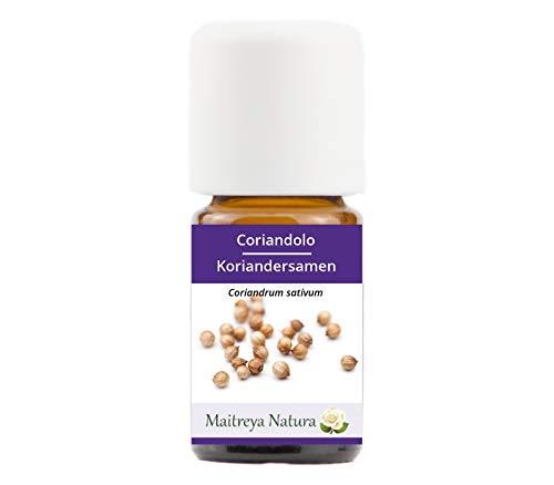 Maitreya Natura Aceite Esencial orgánico de CILANTRO, 100% puro y natural, 5 ml - aromaterapia, difusor, masajes, cosmética - calidad controlada y certificada, libre de crueldad animal, vegano