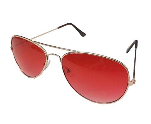 Unbekannt Pilotenbrille Sonnenbrille Fliegerbrille Pornobrille mit Federscharnier NICHT verspiegelt (Klar) (Altrosa Gläser/Rose-Gold Rahmen)