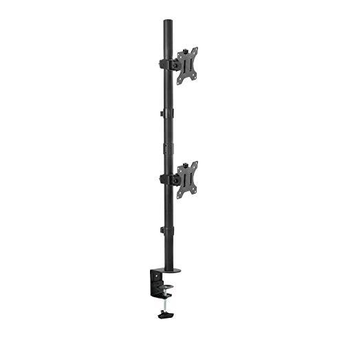 Sbox LCD-352/2V tafelhouder met armen voor 2 monitoren, verticale monitoren van 13 tot 32 inch, VESA 75 x 75 en 100 x 100, kantelbaar en draaibaar 16 kg.