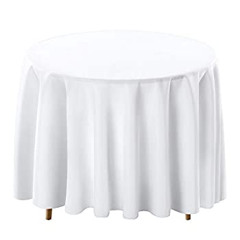 Surmente Tablecloth 90 Inch Round Polyester Table Cloth for Weddings Banquets or Restaurants  White  …