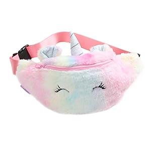 Asamio Bolsa de cintura de unicornio de peluche para niñas lindas Fanny Pack de color degradado de cinturón bolsa de…