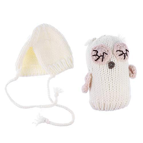 YeahiBaby Gorro de Punto de Ganchillo de Búho Blanco con Juguete para Accesorio de Disfraz de Traje de Animal de Bebé y Recién Nacido (0-1MES)