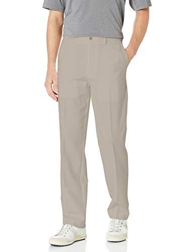 PGA TOUR Men's Flat Front Golf Pant with Expandable Waistband, Silver Cloud, 34X32