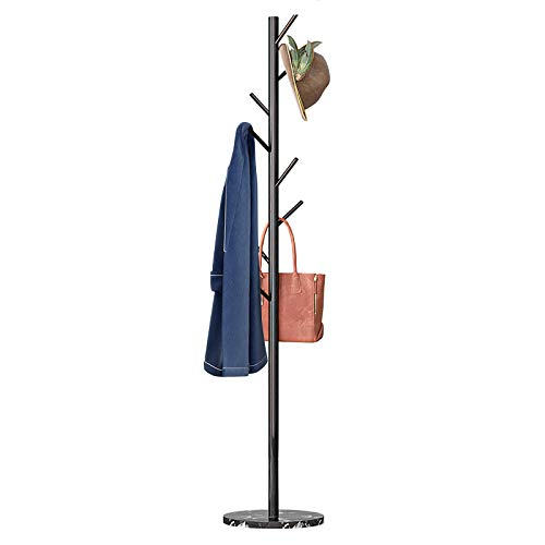 Untyo Coat Rack Marble Chassis 8 Hooks Super Easy Assembly NO Tools Required Hallway/Entryway Coat Hanger Stand for Clothes, Suits, Accessories (Black)