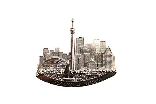 Toronto Canada CN Tower Skyline Silver Embossed Fridge Magnet New