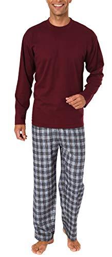 Herren Schlafanzug Pyjama lang mit Flanell Hose - auch in Übergrößen - 281 101 90 997, Größe2:50, Farbe:rot