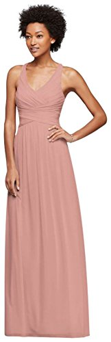 David's Bridal Mesh Long Bridesmaid Dress with Crisscross Back Style W10974, Ballet, 12