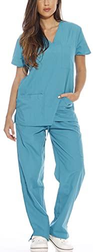 Just Love Women's Scrub Sets Six Pocket Medical Scrubs (V-Neck With Cargo Pant), Teal, Medium
