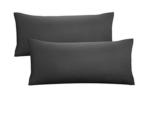 biberna 0077144 Feinjersey Bettwäsche Kopfkissenbezug (Baumwolle) 2x 40x80 cm, schwarz
