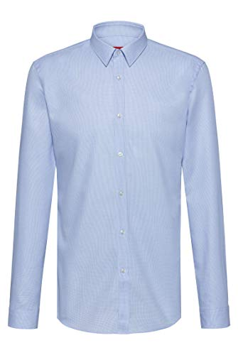 Photo of HUGO Mens Keyes Slim-fit Shirt in Structured Cotton Twill Light Blue
