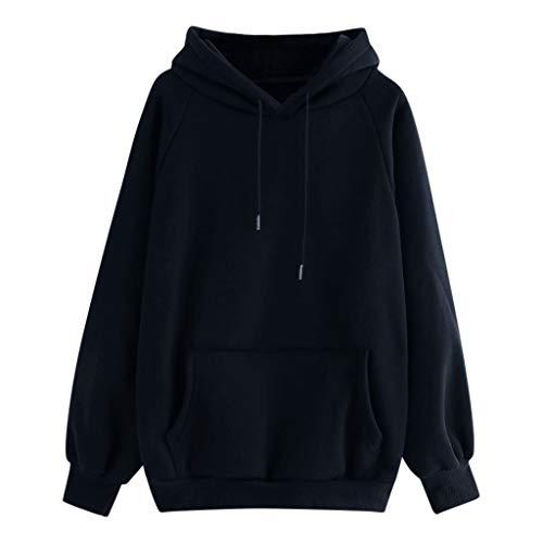 Lazzboy Kapuzenpullover Normallack-mit Kapuze Taschen Langärmliges Pullover-Sweatshirt Der Frauen Damen Hoodie Pullover(Marine,L)