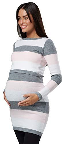 HAPPY MAMA Donna maternità Tunica Lavorata Maglia Girocollo Taglia 453p (Rosa Cipria, IT 44/46, L/XL)