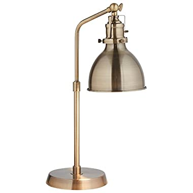 Rivet Pike Factory Industrial Table Lamp, 19  H, with Bulb, Brass