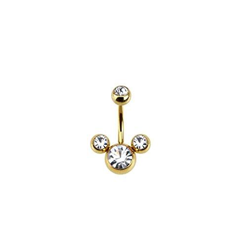 Paula & Fritz® Bauchnabelpiercing aus Edelstahl Chirurgenstahl 316L vergoldet