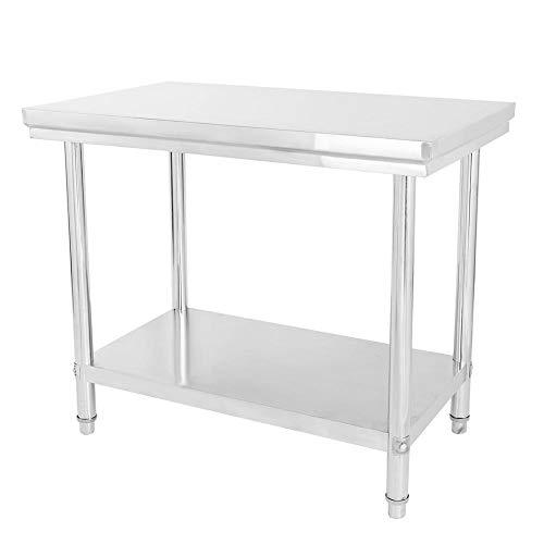 Mesa de trabajo de acero inoxidable, mesa de cocina de 100 x 85 x 60 cm ✅