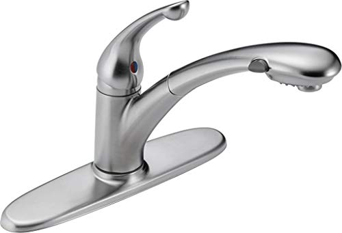 Delta Faucet Signature Single-Handle Kitchen Sink Faucet with Pull Out Sprayer, Arctic Stainless...