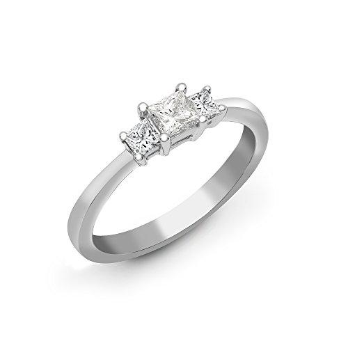Jewelco Europa Juego de 4 garras de oro blanco sólido de 18 quilates para mujer, princesa G VS, anillo de compromiso de trilogía de diamantes de 0.5 ct, 4.5 mm