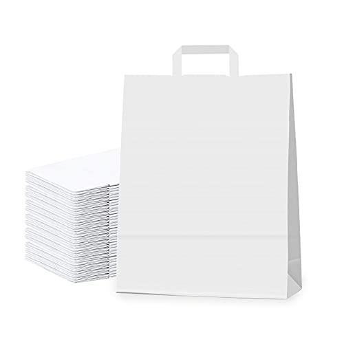 INIT Pack 20 Bolsas De Papel Kraft Con Asa Plana Y Basa Ancha Bolsas Pequeñas. Bolsitas De Papel Para Regalo. Bolsa De Carton Para Bocadillos. Sobres Papel Regalos. (27x25x12cm, Blanco)