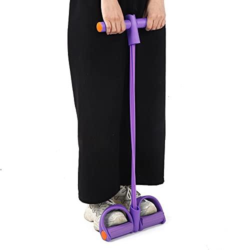Vcriczk Banda de Resistencia para Pedales, Ejercitador de piernas para Entrenador de Estiramiento, Cinturón de Resistencia Abdomen para Yoga(Four Strands of Purple OPP Bag)