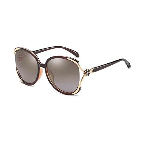 BAIYICHEN Sonnenbrillen für Damen Damen Sonnenbrille Mit Großem Gestell Retro Elegance Polarisierte HD-Gläser Anti-UV Sonnenschutz (Farbe : Tea Color/Tea)