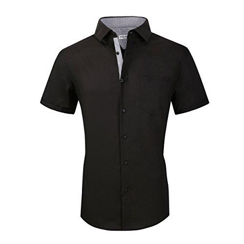 Alex Vando Mens Dress Shirts Casual Regular Fit Short Sleeve Men Shirt,Black,Large