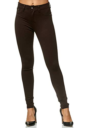 Elara Damen Stretch Hose Skinny Fit Jegging Chunkyrayan H09 Brown 42 (XL)