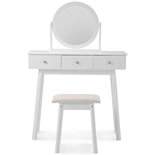 Juego de tocador blanco con espejo y taburete para niñas maquillaje tocador con 3 cajones dormitorio (blanco)