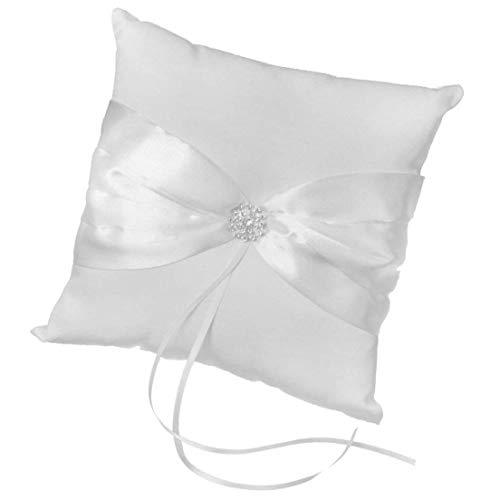 Ring Bearer Pillow Blue Romantic Roses Ribbon Bow Ring Pillow Cushion Best Gift Keepsake for Wedding Ceremony Party - White