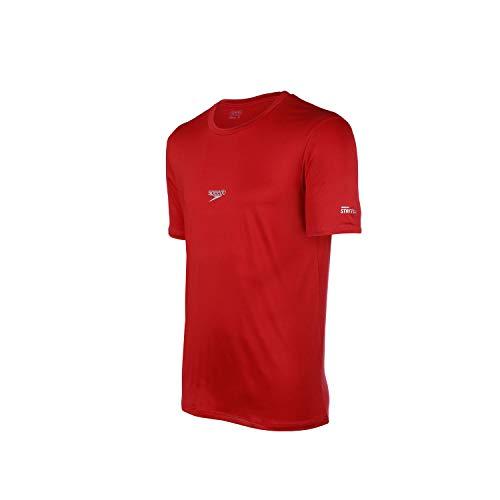 Speedo Basic Stretch Camiseta de Manga Curta, Homens, Vermelho, M