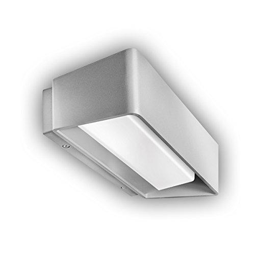 GEV LED Applique Murale Extérieure Caroline, lumière indirecte, Rundu mlau Fender Effet de lumière, éclairage IP 65, 1200 lm, 3000 K, Blanc chaud, aluminium, 13 W, gris argenté, 7 x 24,8 x 11,5 cm