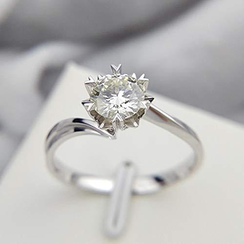 LuckyOne Anillo clásico de plata de ley 925 de 1 quilate, 2 quilates, 3 quilates de corte brillante redondo de moissanita anillo de joyería de diamante anillo de compromiso aniversario