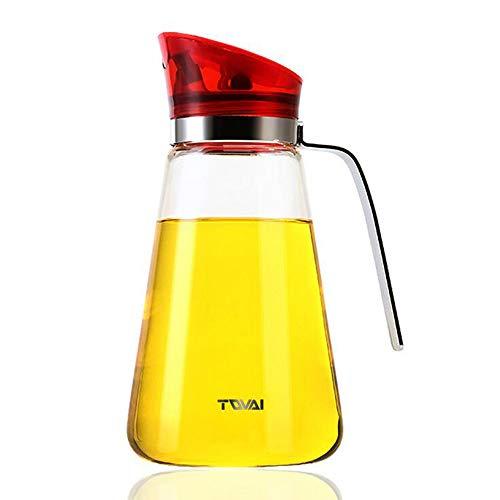 家庭用ガラス瓶 オイルボトル 醤油瓶酢ボトル 調味料ボトル オリーブオイルボトル オイルポット500ml(赤)
