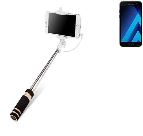 K-S-Trade Für Samsung Galaxy A3 (2017) Selfie Stick Selfiestick Kabelgebunden Monopod Mit Kabel Stab Stange Selfportrait Handheldstick Für Samsung Galaxy A3 (2017) Schwarz