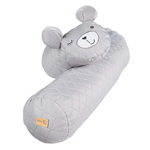"""roba Bettschlange """"roba style"""", Baby-Bettumrandung mit Bärengesicht """"Sammy"""", grau, Babynest für Babybett, Nestchenschlange, 170 cm, silbergrau"""
