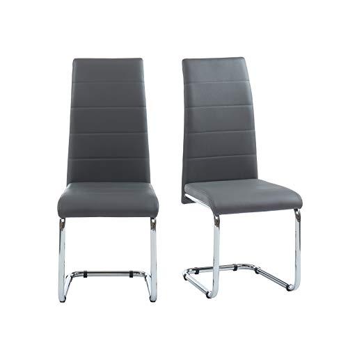 BAÏTA MARA02 Juego de 2 sillas, Simili, Gris, 54x42x101cm