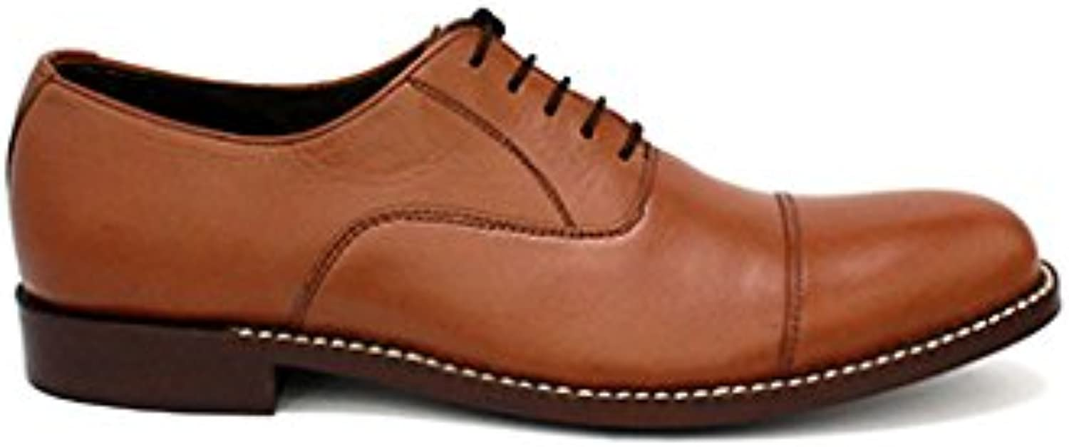 TAAVETTI Men's Formal Brown Handmade Leather Dalton Cap Toe Oxford shoes