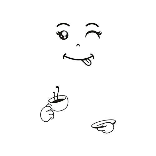 JTYQT Nieuwe 4 Stijlen Glimlach Gezicht Muursticker Gelukkig Heerlijk Gezicht Koelkast Stickers Yummy voor Voedsel Meubilair Decoratie Art Poster DIY PVC