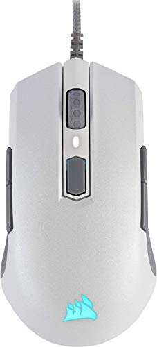 Corsair M55 PRO RGB Beidhändig nutzbare Optisch Gaming-Maus (12.400DPI Optisch Sensor, Leicht, 8 vollständig programmierbare Tasten, RGB-LED-Hintergrundbeleuchtung) weiß