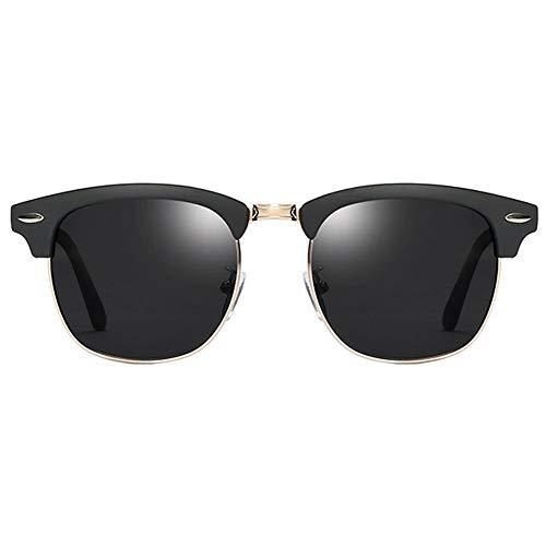QCSMegy Gafas de Sol Polarizado Clásico Retro Colorido UV400 Gafas De Sol Tendencia Arena Negro Marco Gris Lente Damas Gafas De Sol De Conducción De Los Hombres Espejo