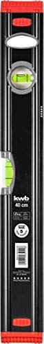 kwb Aluminium-Wasserwaage 40 cm, stoßfeste Libelle, 0,5 mm / m Genauigkeit, VPA-Geprüft, hoch präzise geschliffen, je 1 Horizontal- und Vertikallibelle inkl. Sturz-Schutz aus Gummi